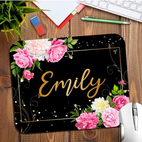 Personalised Any Name Floral Mouse Pad PC Computer Mat N14